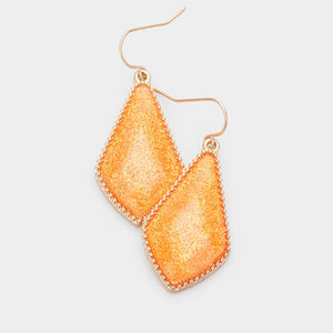 Orange Glitter Drop Dangle Earrings