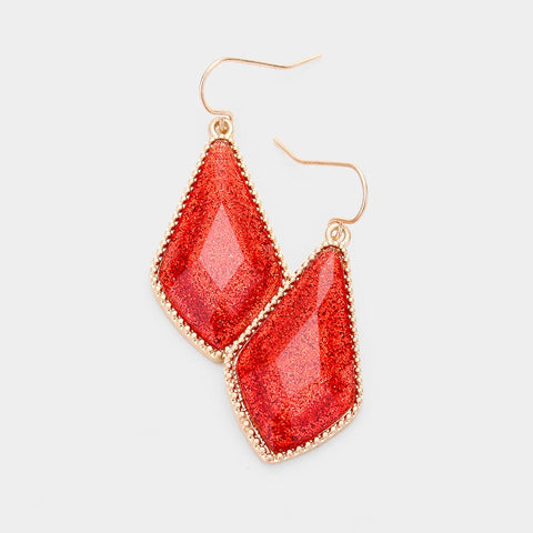 Red Glitter Drop Dangle Earrings