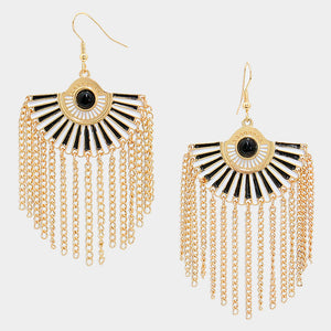 Enamel Fan Fringe Earrings - Bedazzled By Jeanelle
