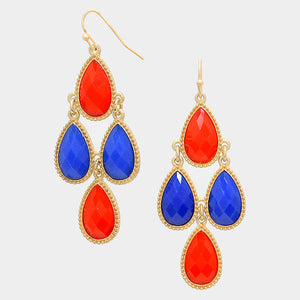 Dazzling Red-Blue Teardrop Chandelier Fashion Earrings - Bedazzled By Jeanelle