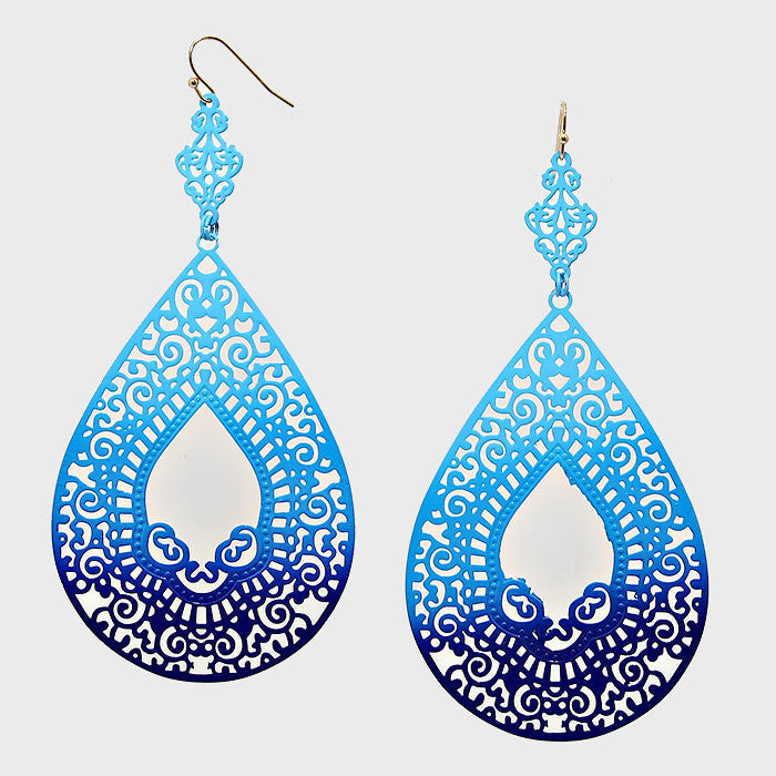 Ombre Filigree Teardrop Earrings - Bedazzled By Jeanelle
