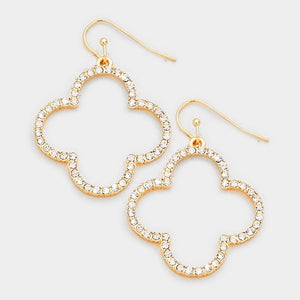 Gold Rhinestone Quatrefoil Clover Earrings
