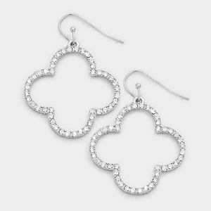Silver Rhinestone Quatrefoil Clover Earrings