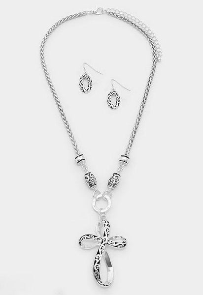 Filigree Cross Necklace Set - Bedazzled By Jeanelle - 2