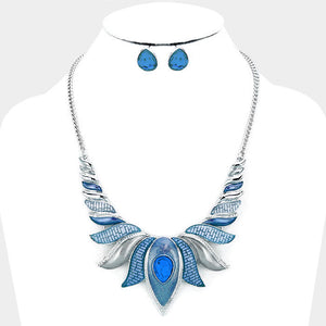 Blue Epoxy Lotus Necklace Set
