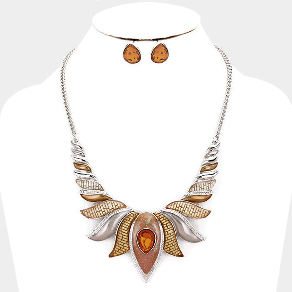 Brown Epoxy Lotus Necklace Set
