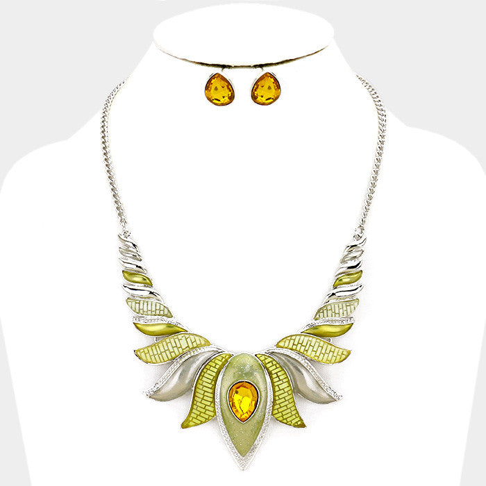 Yellow Epoxy Lotus Necklace Set
