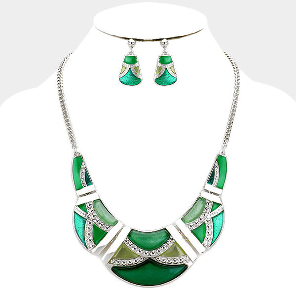 Green Epoxy Crescent Necklace Set