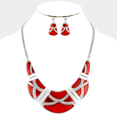Red Epoxy Crescent Necklace Set
