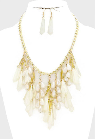 Fringe Teardrop Bib Statement Necklace Set