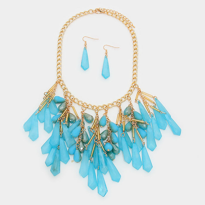Fringe Teardrop Bib Statement Necklace Set - Bedazzled By Jeanelle - 2