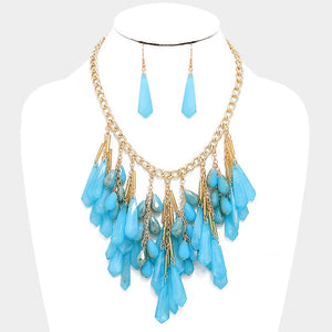 Fringe Teardrop Bib Statement Necklace Set - Bedazzled By Jeanelle - 1