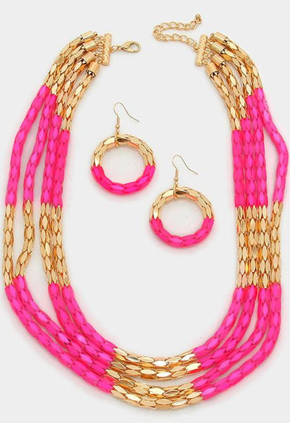 Pink Multi-Layer Block Metal Mesh Necklace Set - Bedazzled By Jeanelle - 2