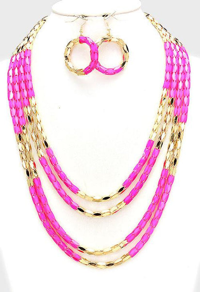 Pink Multi-Layer Block Metal Mesh Necklace Set - Bedazzled By Jeanelle - 1