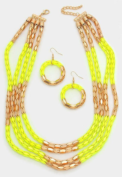 Yellow Multi-Layer Block Metal Mesh Necklace Set - Bedazzled By Jeanelle - 2