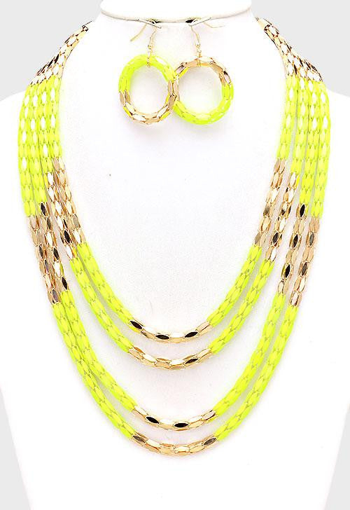 Yellow Multi-Layer Block Metal Mesh Necklace Set - Bedazzled By Jeanelle - 1