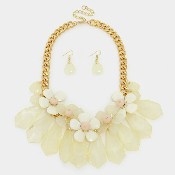 Ivory Daisy Cluster Statement Necklace Set - Bedazzled By Jeanelle - 2