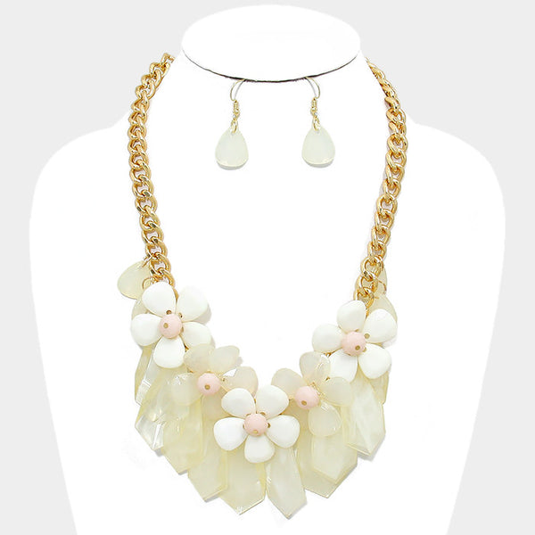 Ivory Daisy Cluster Statement Necklace Set - Bedazzled By Jeanelle - 1