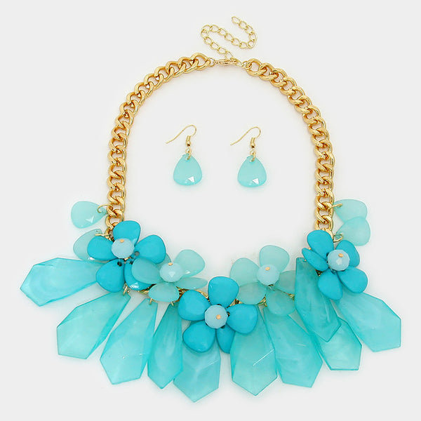Turquoise Daisy Cluster Statement Necklace Set - Bedazzled By Jeanelle - 2