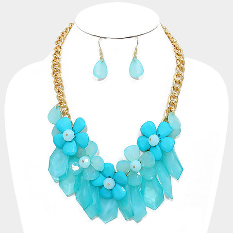 Turquoise Daisy Cluster Statement Necklace Set - Bedazzled By Jeanelle - 1