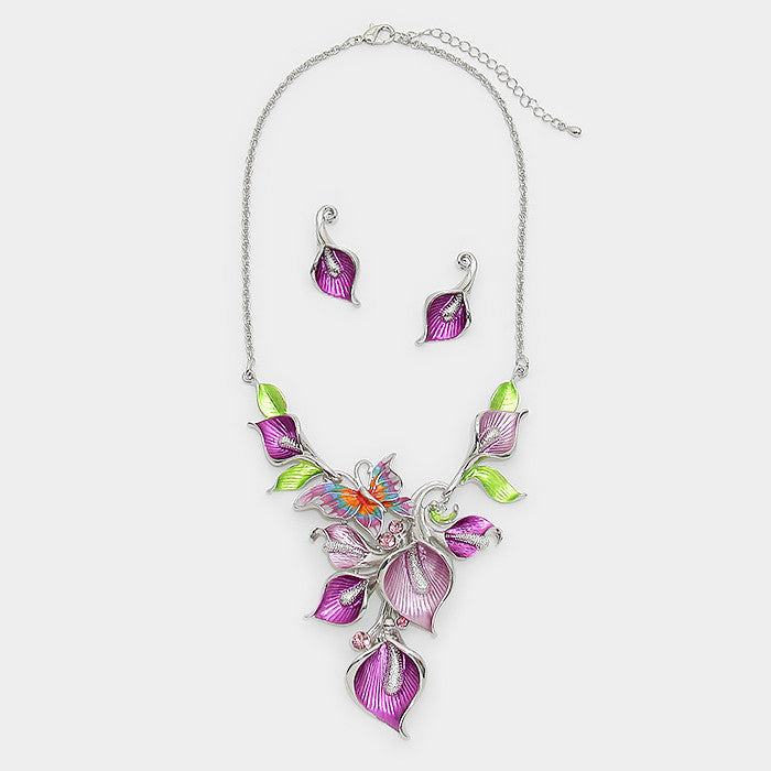 Purple Butterfly Vine Necklace Set - Bedazzled By Jeanelle - 2