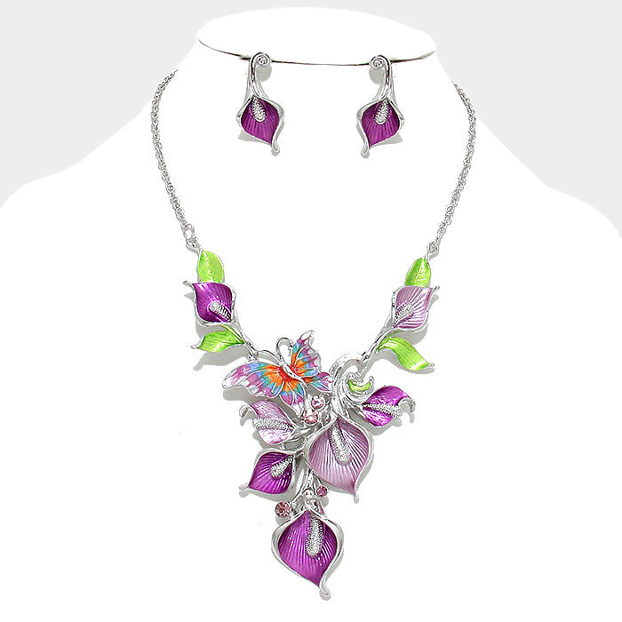 Purple Butterfly Vine Necklace Set - Bedazzled By Jeanelle - 1