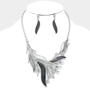 Dazzling Black Crystal Bib Statement Necklace Set - Bedazzled By Jeanelle