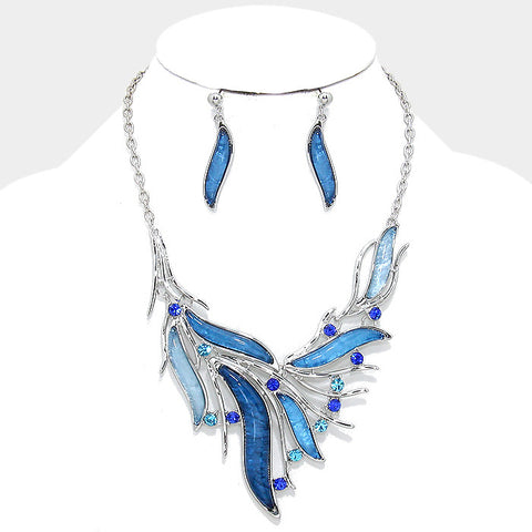 Dazzling Sapphire-Aquamarine Crystal Bib Statement Necklace Set - Bedazzled By Jeanelle