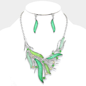 Dazzling Mint Green Crystal Bib Statement Necklace Set - Bedazzled By Jeanelle