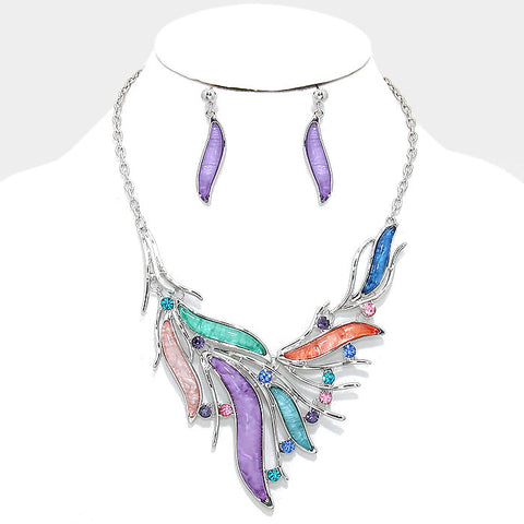 Dazzling Pastel Multi-Color Crystal Bib Statement Necklace Set - Bedazzled By Jeanelle