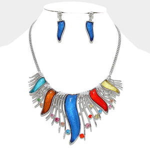Dazzling Bold Multi-Color Crystal Bib Statement Necklace Set - Bedazzled By Jeanelle