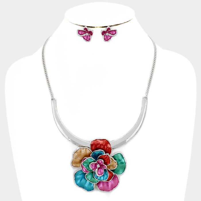 Multi-Colored Rose Fashion Necklace Set