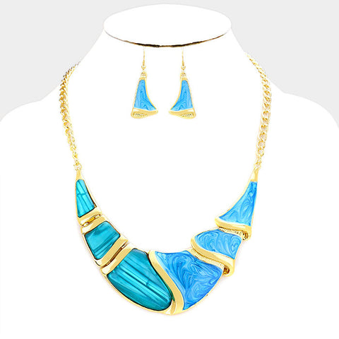 Gold and Blue Epoxy Crescent Bar Necklace