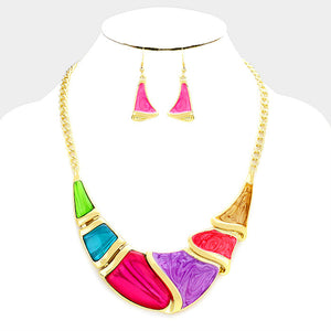 Multi-Color Gold Epoxy Crescent Bar Necklace Set
