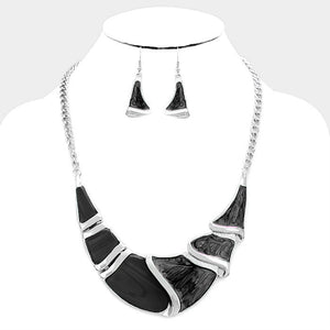 Black Silver Epoxy Crescent Bar Necklace Set