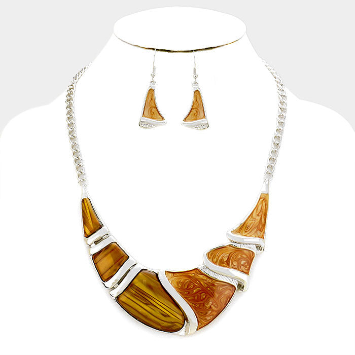 Brown Silver Epoxy Crescent Bar Necklace Set