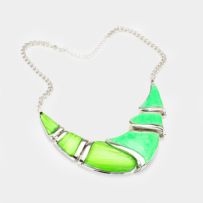 Green Silver Epoxy Crescent Bar Necklace Set