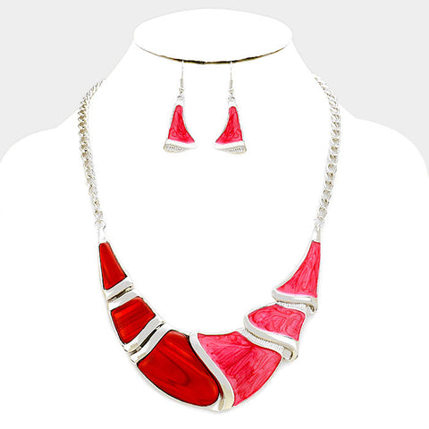 Red Silver Epoxy Crescent Bar Necklace Set