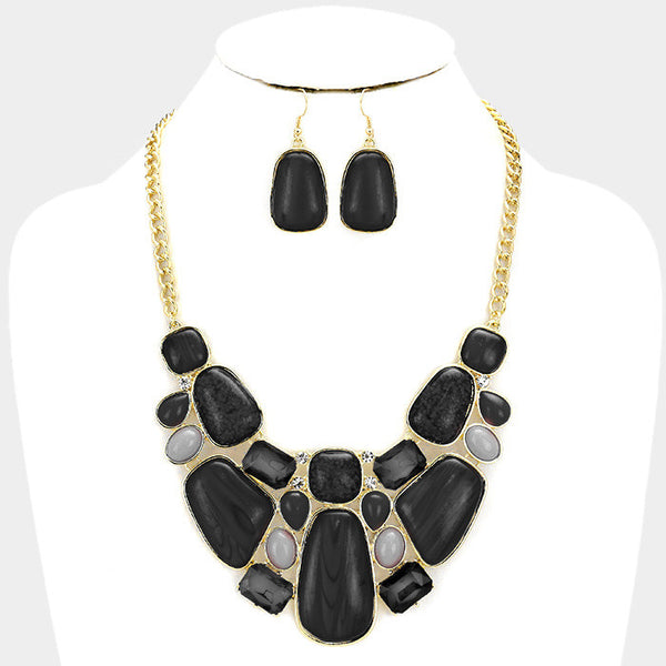 Black Glitter Epoxy Statement Necklace Set
