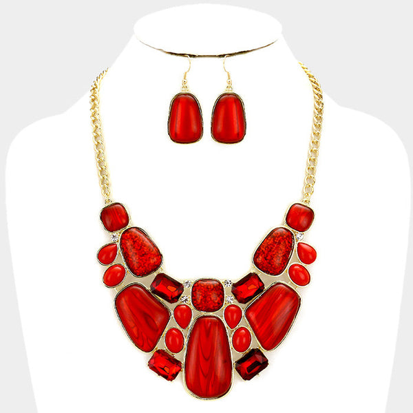 Gold Red Glitter Epoxy Statement Necklace Set