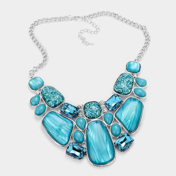 Aqua Glitter Epoxy Statement Necklace Set