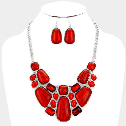 Silver Red Glitter Epoxy Statement Necklace Set