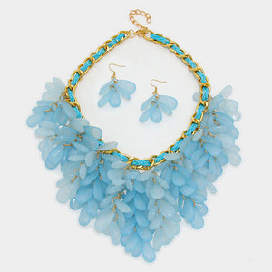Sky Blue Fringe Bib Statement Necklace Set - Bedazzled By Jeanelle - 2