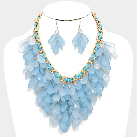 Sky Blue Fringe Bib Statement Necklace Set - Bedazzled By Jeanelle - 1
