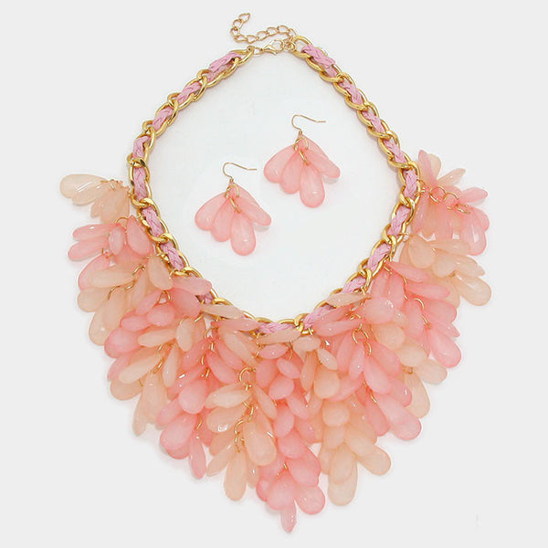 Pink Fringe Bib Statement Necklace Set - Bedazzled By Jeanelle - 2
