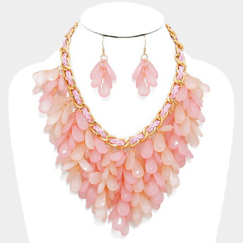Pink Fringe Bib Statement Necklace Set - Bedazzled By Jeanelle - 1