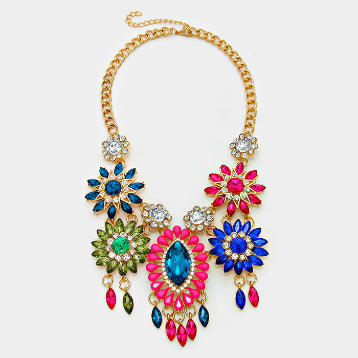 Floral Crystal Bib Statement Necklace - Bedazzled By Jeanelle - 2