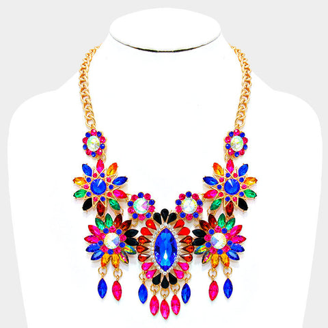 Floral Crystal Bib Statement Necklace - Bedazzled By Jeanelle - 1