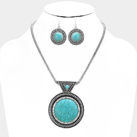Circular Turquoise Necklace Set