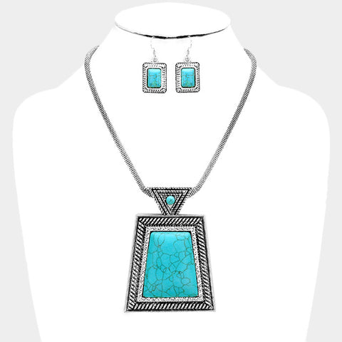 Square Shaped Turquoise Necklace Set